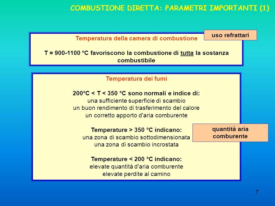 7 COMBUSTIONE DIRETTA: PARAMETRI IMPORTANTI (1) Temperatura della camera di combustione T = 900-1100 °C favoriscono la combustione di tutta la sostanza combustibile uso refrattari Temperatura dei fumi 200°C < T < 350 °C sono normali e indice di: una sufficiente superficie di scambio un buon rendimento di trasferimento del calore un corretto apporto d aria comburente Temperature > 350 °C indicano: una zona di scambio sottodimensionata una zona di scambio incrostata Temperature < 200 °C indicano: elevate quantità d aria comburente elevate perdite al camino quantità aria comburente