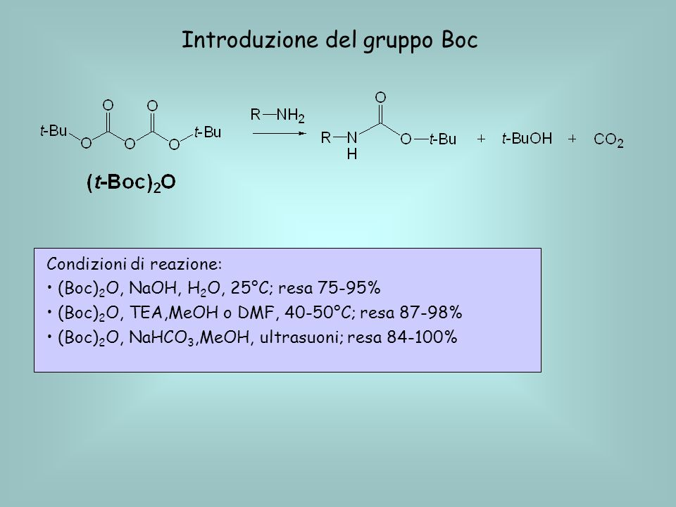 Rimozione del gruppo Boc Condizioni di reazione: TFA/CH 2 Cl 2 al 30%, a freddo HCl 3M/AcOEt, (TFA = acido trifluoroacetico CF 3 COOH)