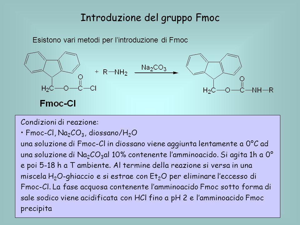 Introduzione del gruppo Fmoc Esistono vari metodi per lintroduzione di Fmoc Condizioni di reazione: Fmoc-Cl, Na 2 CO 3, diossano/H 2 O una soluzione di Fmoc-Cl in diossano viene aggiunta lentamente a 0°C ad una soluzione di Na 2 CO 3 al 10% contenente lamminoacido.
