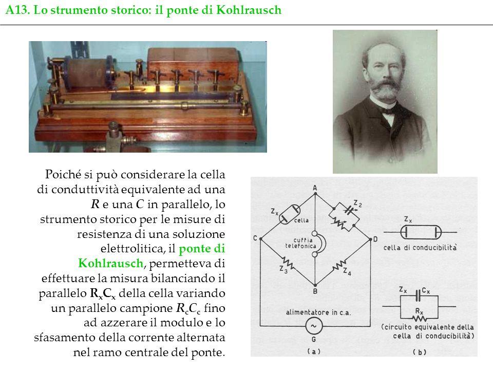 17 Poiché si può considerare la cella di conduttività equivalente ad una R e una C in parallelo, lo strumento storico per le misure di resistenza di u