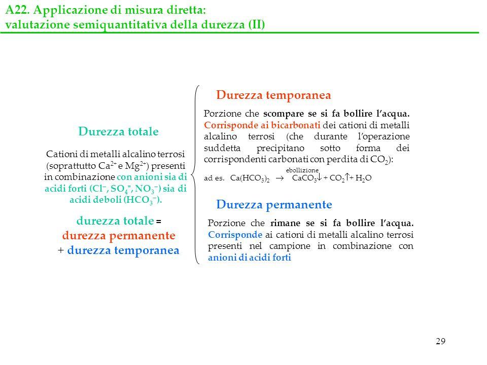 29 Cationi di metalli alcalino terrosi (soprattutto Ca 2+ e Mg 2+ ) presenti in combinazione con anioni sia di acidi forti (Cl, SO 4 =, NO 3 ) sia di