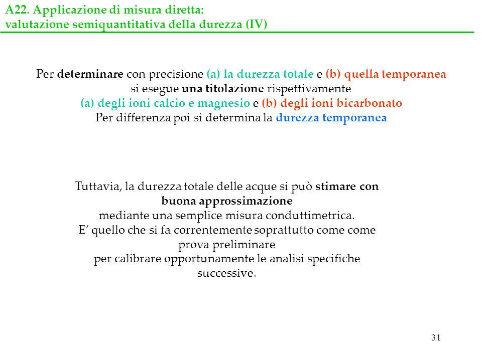31 Tuttavia, la durezza totale delle acque si può stimare con buona approssimazione mediante una semplice misura conduttimetrica. E quello che si fa c
