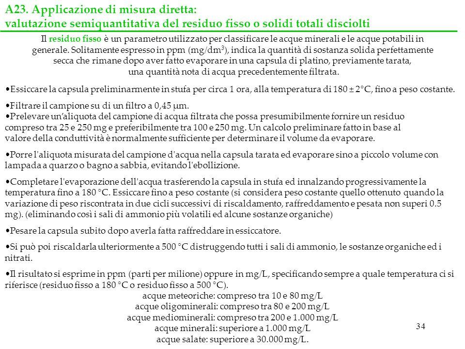 34 A23. Applicazione di misura diretta: valutazione semiquantitativa del residuo fisso o solidi totali disciolti Essiccare la capsula preliminarmente