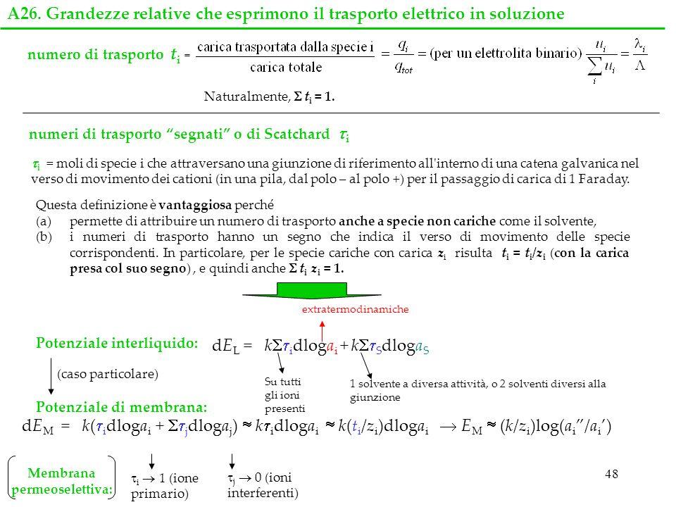 48 numeri di trasporto segnati o di Scatchard i i = moli di specie i che attraversano una giunzione di riferimento all'interno di una catena galvanica