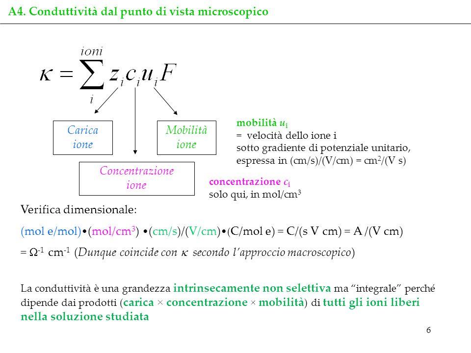 6 Carica ione Concentrazione ione Mobilità ione La conduttività è una grandezza intrinsecamente non selettiva ma integrale perché dipende dai prodotti
