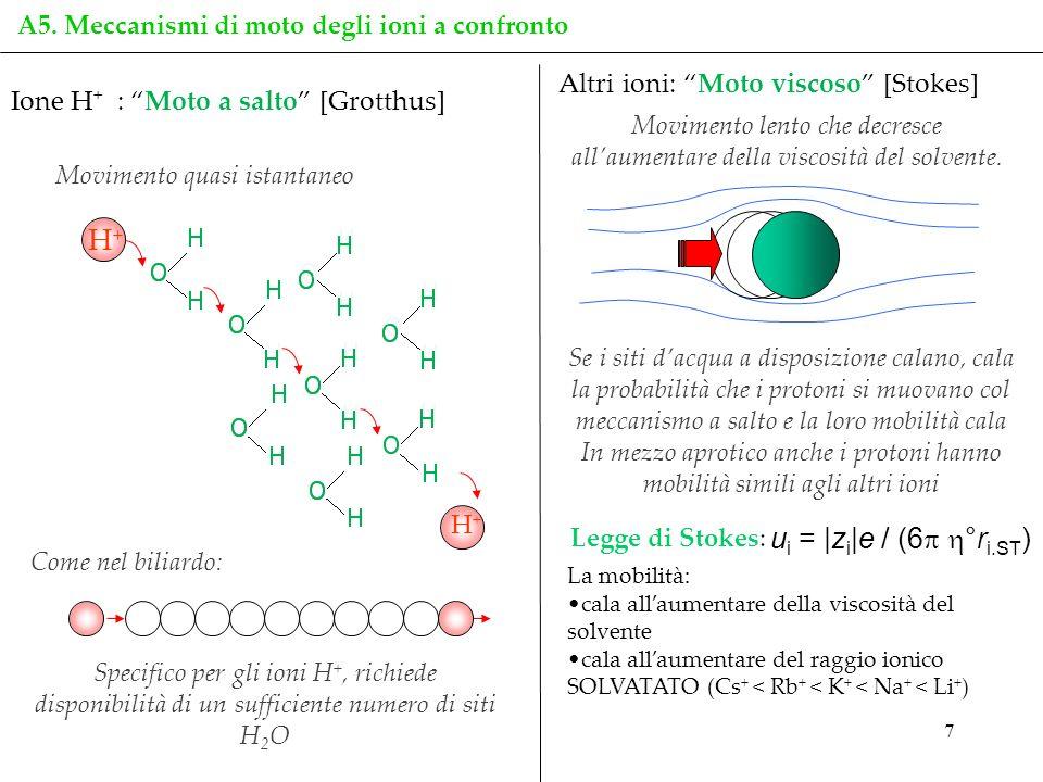 7 Ione H + : Moto a salto [Grotthus] Altri ioni: Moto viscoso [Stokes] Movimento lento che decresce allaumentare della viscosità del solvente. Come ne
