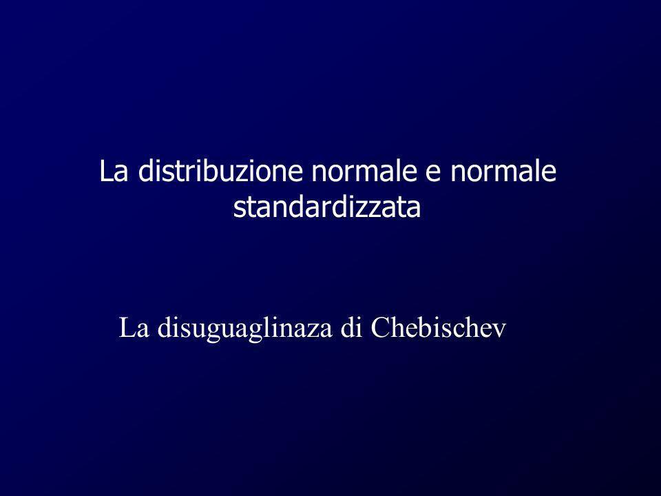 La distribuzione normale e normale standardizzata La disuguaglinaza di Chebischev