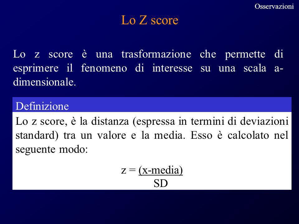 Lo Z score Lo z score è una trasformazione che permette di esprimere il fenomeno di interesse su una scala a- dimensionale. Definizione Lo z score, è