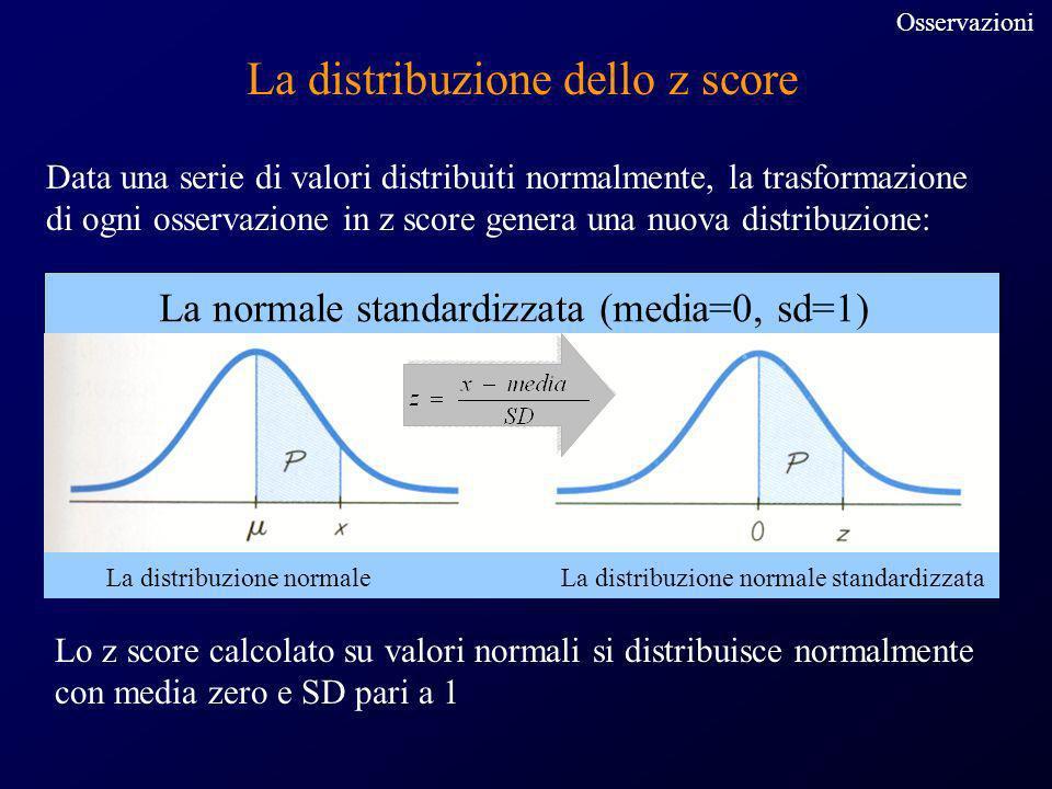 La distribuzione dello z score Data una serie di valori distribuiti normalmente, la trasformazione di ogni osservazione in z score genera una nuova di