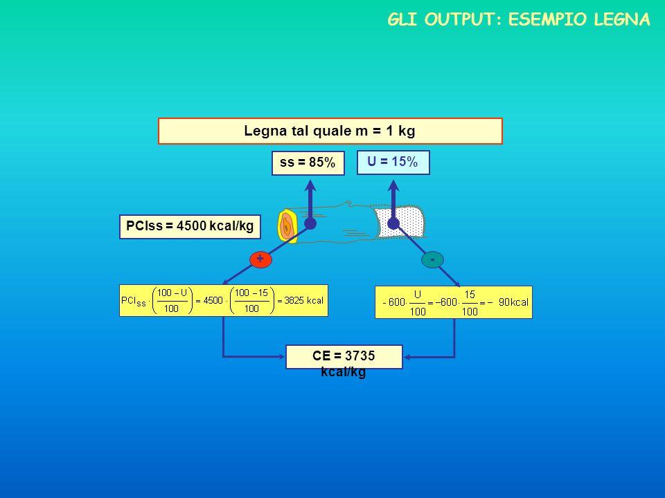 Legna tal quale m = 1 kg ss = 85% U = 15% PCIss = 4500 kcal/kg +- CE = 3735 kcal/kg GLI OUTPUT: ESEMPIO LEGNA