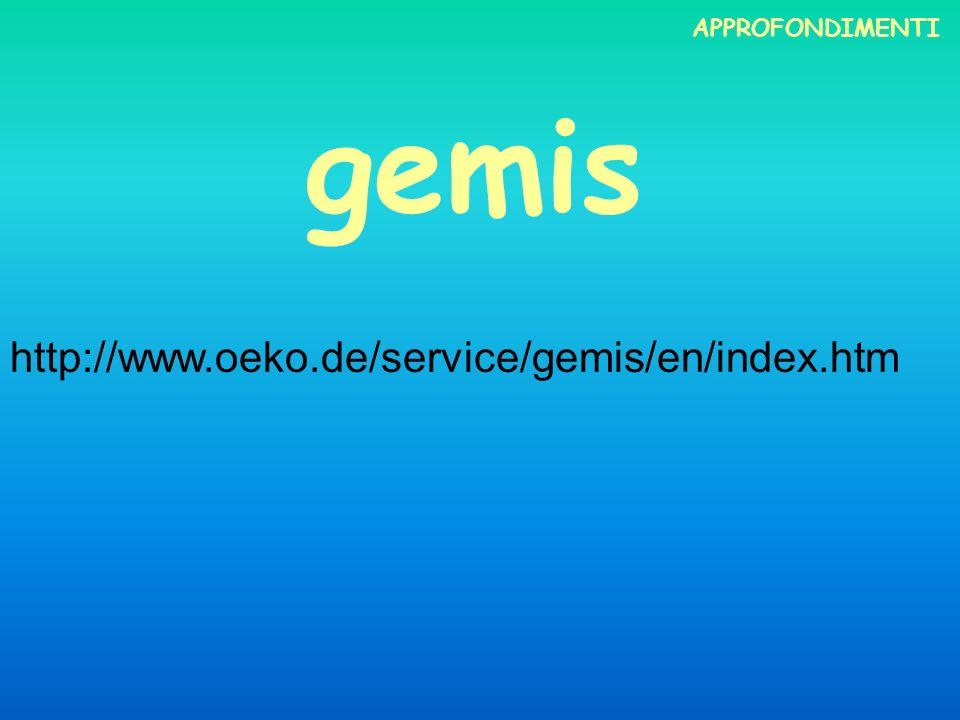 gemis http://www.oeko.de/service/gemis/en/index.htm APPROFONDIMENTI