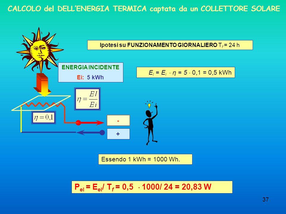 37 CALCOLO del DELLENERGIA TERMICA captata da un COLLETTORE SOLARE ENERGIA INCIDENTE Ei: 5 kWh + - Ipotesi su FUNZIONAMENTO GIORNALIERO T f = 24 h E l = E i η = 5 0,1 = 0,5 kWh P el = E el / T f = 0,5 1000/ 24 = 20,83 W Essendo 1 kWh = 1000 Wh.