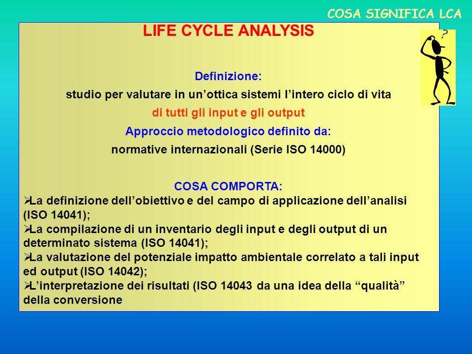 COSA SIGNIFICA LCA LIFE CYCLE ANALYSIS Definizione: studio per valutare in unottica sistemi lintero ciclo di vita di tutti gli input e gli output Approccio metodologico definito da: normative internazionali (Serie ISO 14000) COSA COMPORTA: La definizione dellobiettivo e del campo di applicazione dellanalisi (ISO 14041); La compilazione di un inventario degli input e degli output di un determinato sistema (ISO 14041); La valutazione del potenziale impatto ambientale correlato a tali input ed output (ISO 14042); Linterpretazione dei risultati (ISO 14043 da una idea della qualità della conversione