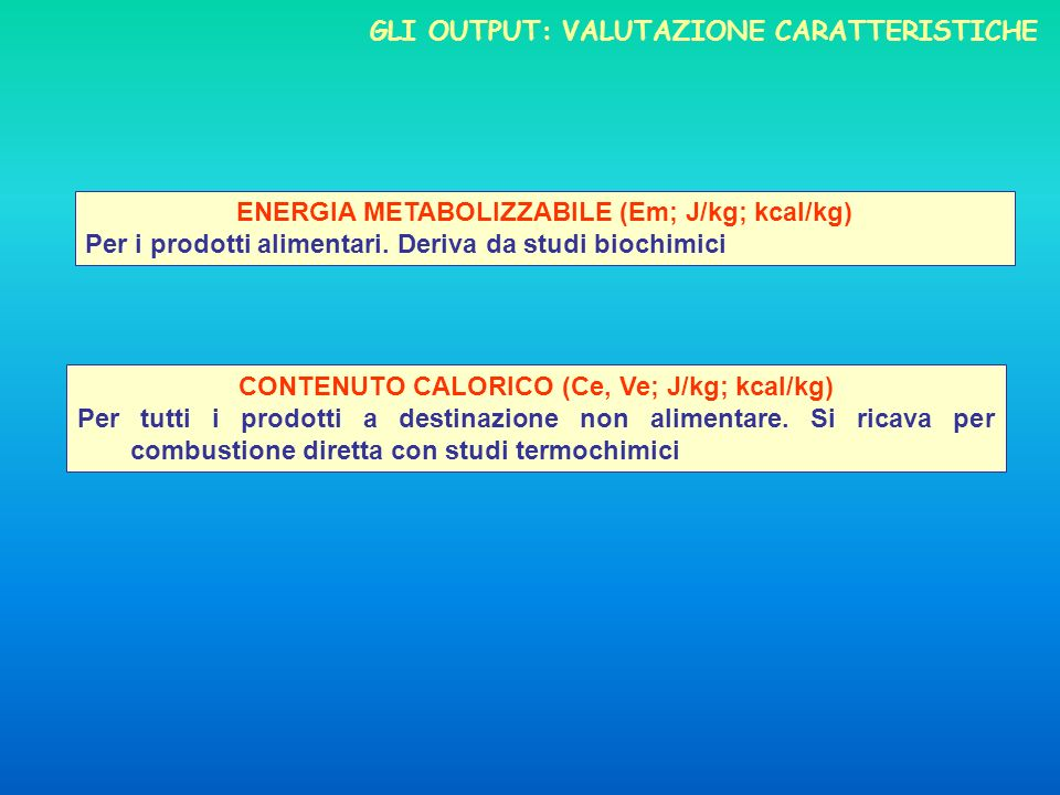 GLI OUTPUT: VALUTAZIONE CARATTERISTICHE ENERGIA METABOLIZZABILE (Em; J/kg; kcal/kg) Per i prodotti alimentari. Deriva da studi biochimici CONTENUTO CA