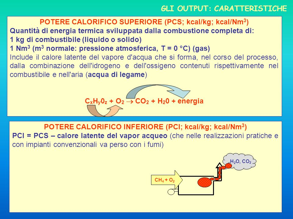 GLI OUTPUT: CARATTERISTICHE POTERE CALORIFICO SUPERIORE (PCS; kcal/kg; kcal/Nm 3 ) Quantità di energia termica sviluppata dalla combustione completa di: 1 kg di combustibile (liquido o solido) 1 Nm 3 (m 3 normale: pressione atmosferica, T = 0 °C) (gas) Include il calore latente del vapore d acqua che si forma, nel corso del processo, dalla combinazione dell idrogeno e dell ossigeno contenuti rispettivamente nel combustibile e nell aria (acqua di legame) C x H y 0 z + O 2 CO 2 + H 2 0 + energia POTERE CALORIFICO INFERIORE (PCI; kcal/kg; kcal/Nm 3 ) PCI = PCS – calore latente del vapor acqueo (che nelle realizzazioni pratiche e con impianti convenzionali va perso con i fumi) H 2 O, CO 2 CH 4 + O 2