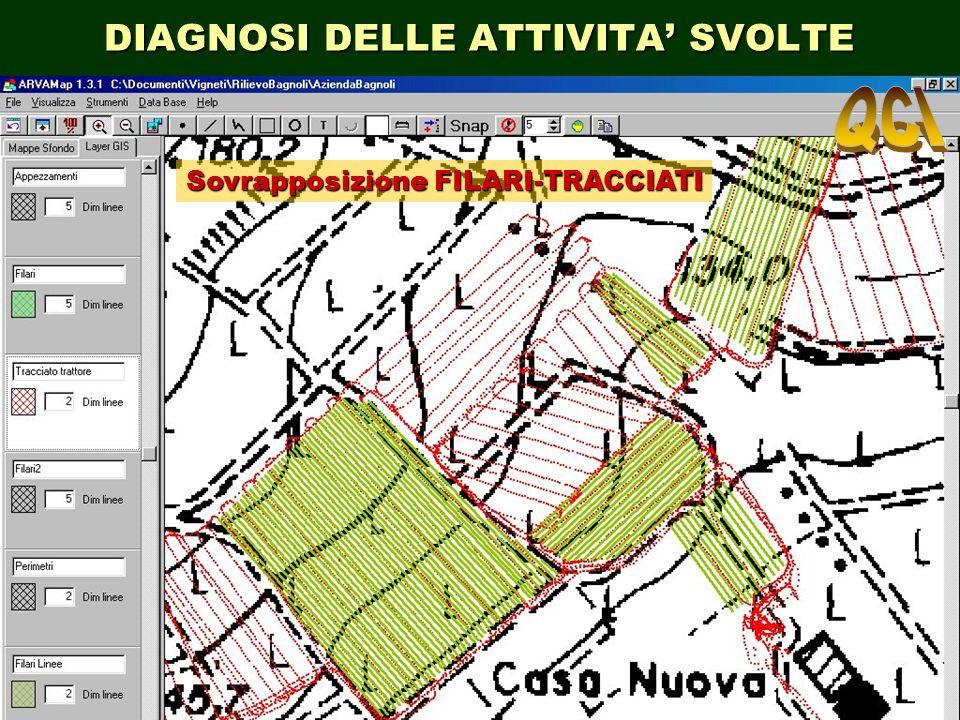 DIAGNOSI DELLE ATTIVITA SVOLTE Sovrapposizione FILARI-TRACCIATI