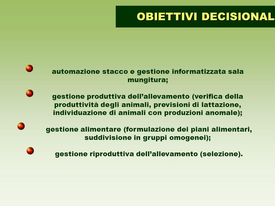 automazione stacco e gestione informatizzata sala mungitura; gestione produttiva dellallevamento (verifica della produttività degli animali, prevision