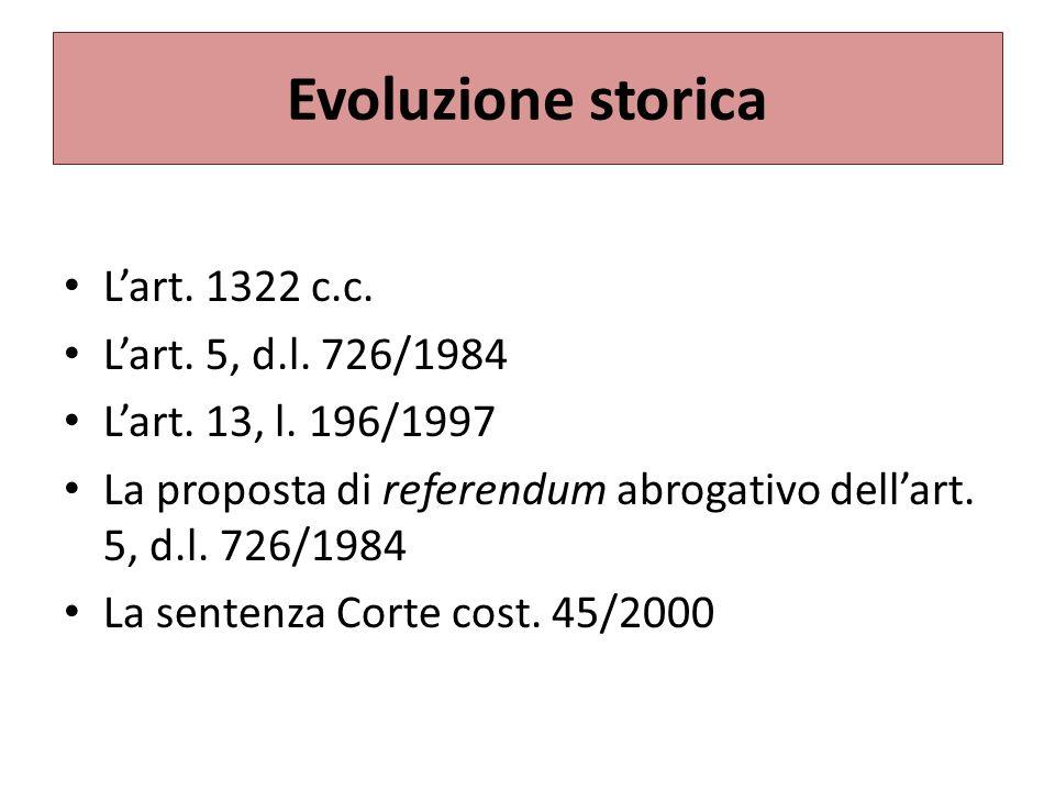 Evoluzione storica Lart.1322 c.c. Lart. 5, d.l. 726/1984 Lart.