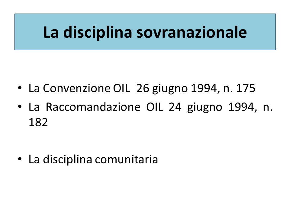 La disciplina sovranazionale La Convenzione OIL 26 giugno 1994, n.