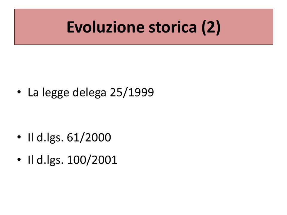 Evoluzione storica (2) La legge delega 25/1999 Il d.lgs. 61/2000 Il d.lgs. 100/2001