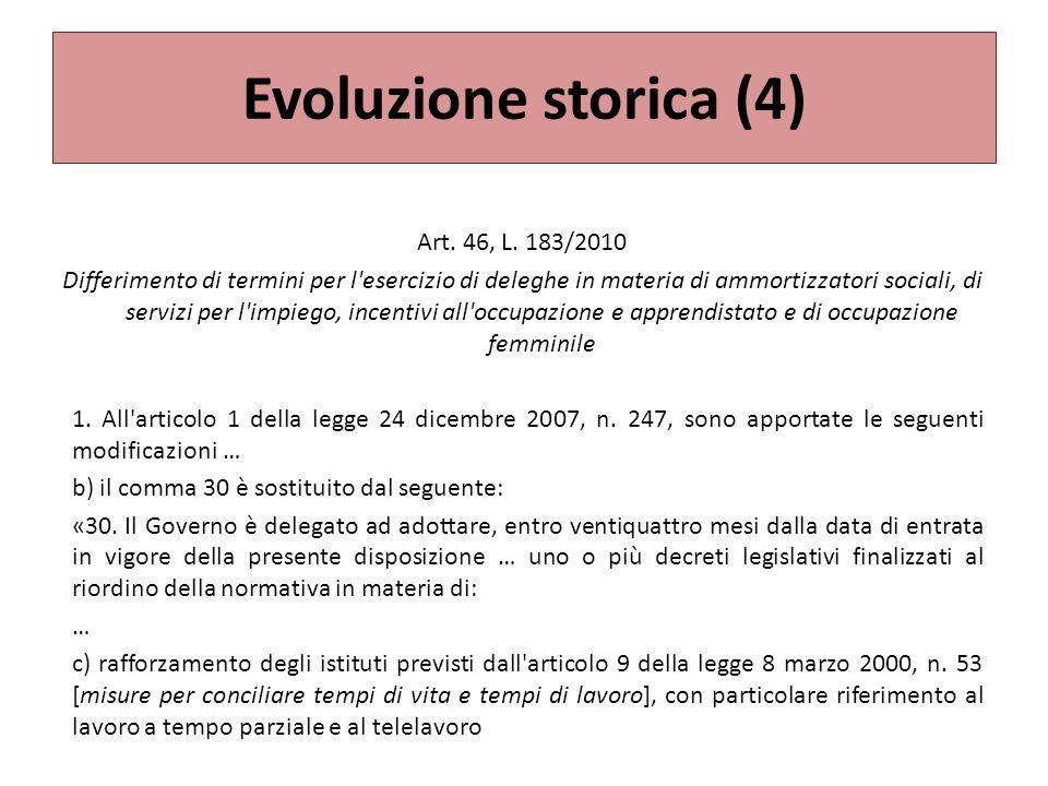 Evoluzione storica (4) Art.46, L.