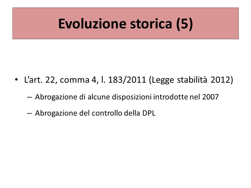 Evoluzione storica (5) Lart.22, comma 4, l.
