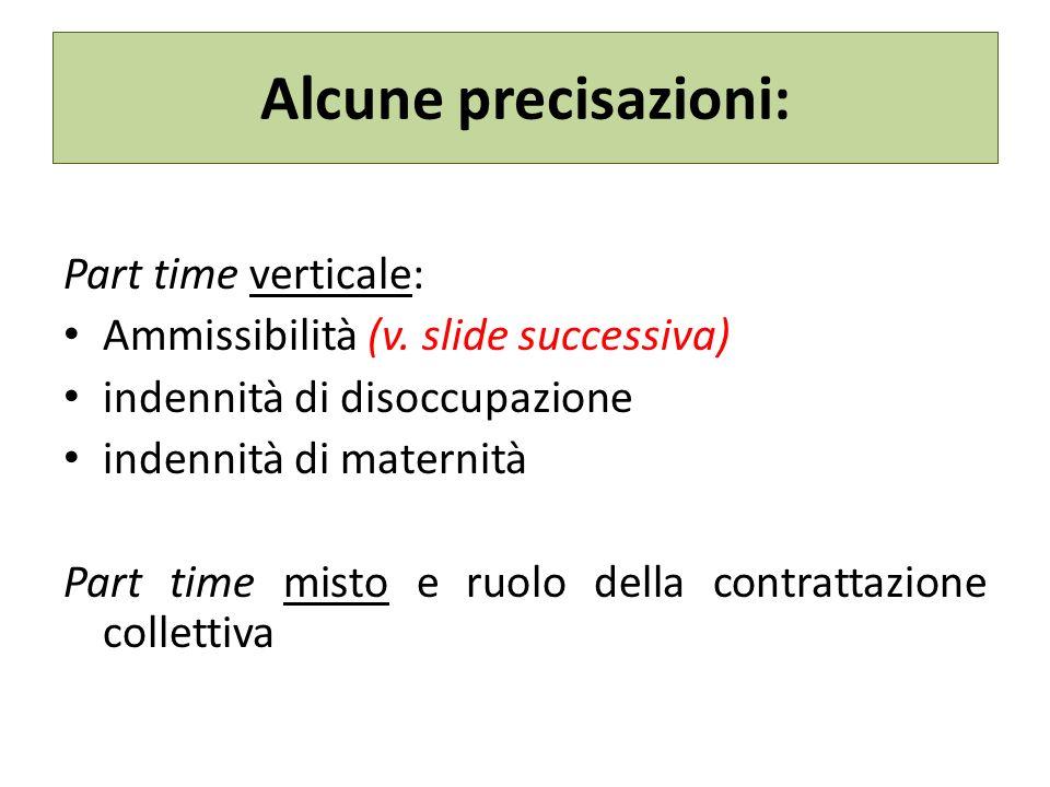 Alcune precisazioni: Part time verticale: Ammissibilità (v.