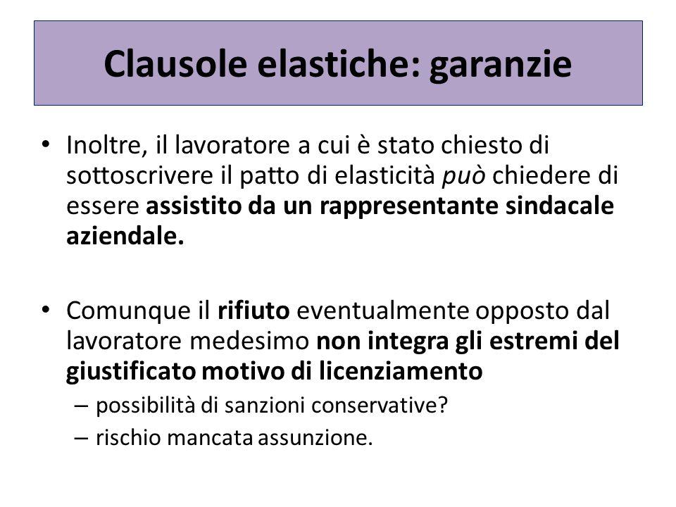 Clausole elastiche: garanzie Inoltre, il lavoratore a cui è stato chiesto di sottoscrivere il patto di elasticità può chiedere di essere assistito da un rappresentante sindacale aziendale.