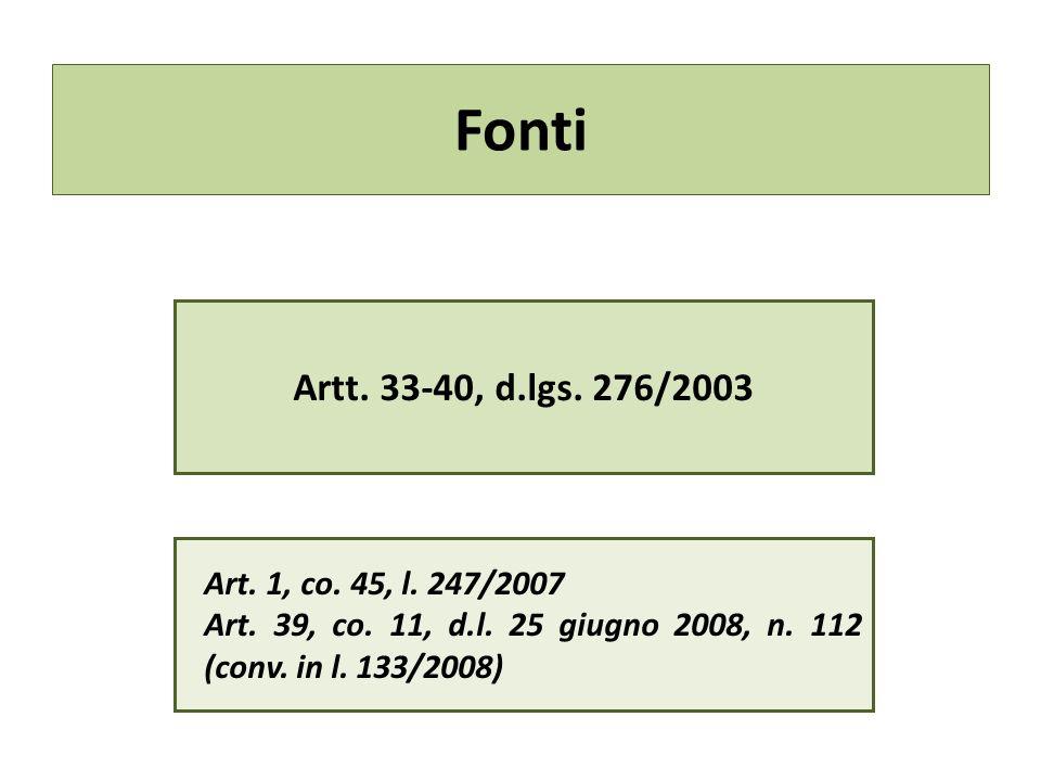 Fonti Artt.33-40, d.lgs. 276/2003 Art. 1, co. 45, l.