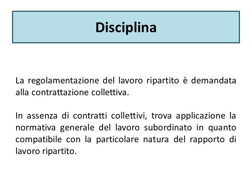 Disciplina La regolamentazione del lavoro ripartito è demandata alla contrattazione collettiva.