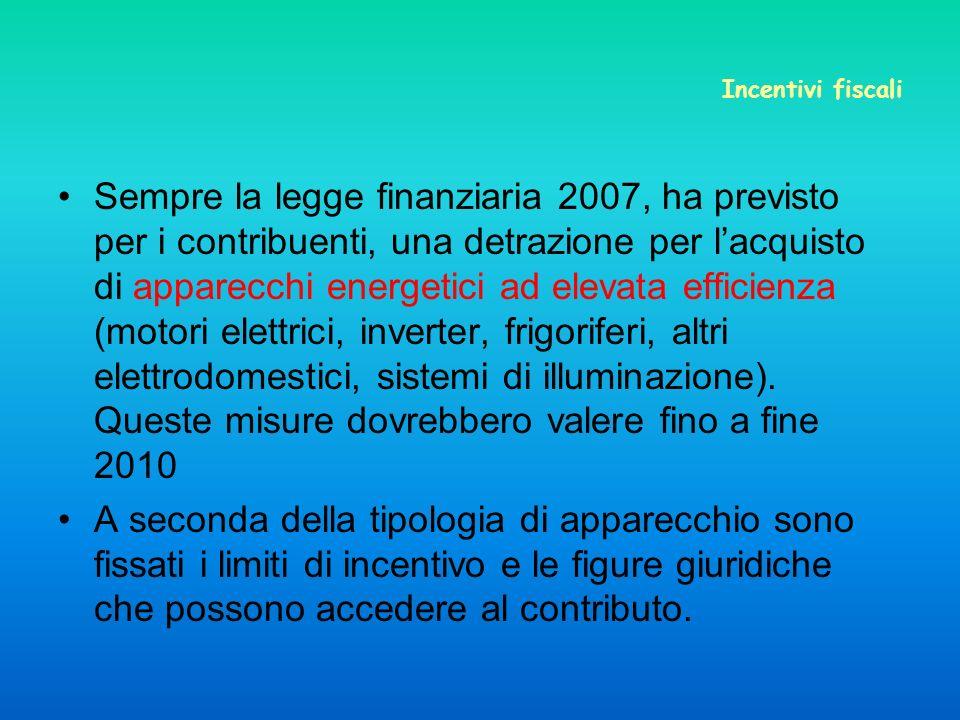 Incentivi fiscali Sempre la legge finanziaria 2007, ha previsto per i contribuenti, una detrazione per lacquisto di apparecchi energetici ad elevata efficienza (motori elettrici, inverter, frigoriferi, altri elettrodomestici, sistemi di illuminazione).