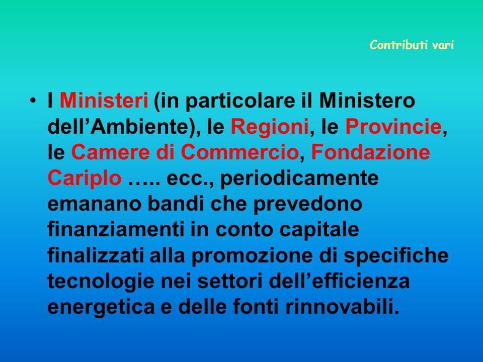 Contributi vari I Ministeri (in particolare il Ministero dellAmbiente), le Regioni, le Provincie, le Camere di Commercio, Fondazione Cariplo …..