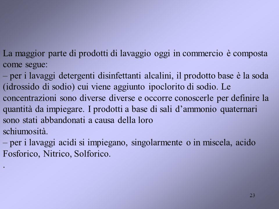 23 La maggior parte di prodotti di lavaggio oggi in commercio è composta come segue: – per i lavaggi detergenti disinfettanti alcalini, il prodotto ba