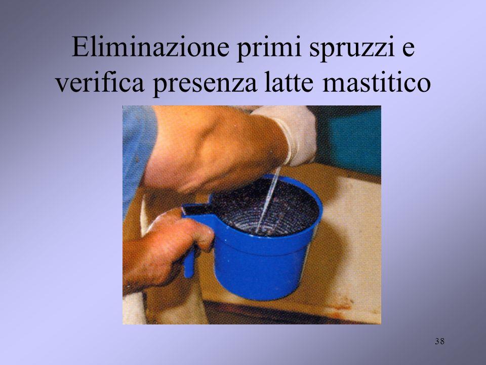 Eliminazione primi spruzzi e verifica presenza latte mastitico 38