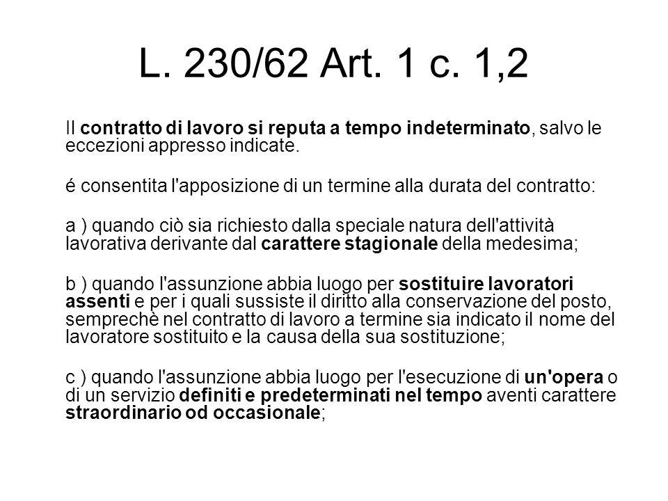 L. 230/62 Art. 1 c. 1,2 Il contratto di lavoro si reputa a tempo indeterminato, salvo le eccezioni appresso indicate. é consentita l'apposizione di un