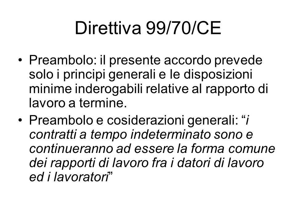 Direttiva 99/70/CE Preambolo: il presente accordo prevede solo i principi generali e le disposizioni minime inderogabili relative al rapporto di lavor