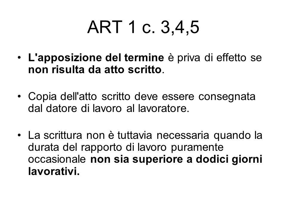 ART 1 c. 3,4,5 L'apposizione del termine è priva di effetto se non risulta da atto scritto. Copia dell'atto scritto deve essere consegnata dal datore
