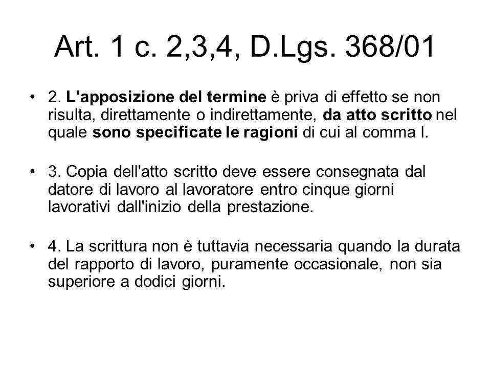 Art. 1 c. 2,3,4, D.Lgs. 368/01 2. L'apposizione del termine è priva di effetto se non risulta, direttamente o indirettamente, da atto scritto nel qual