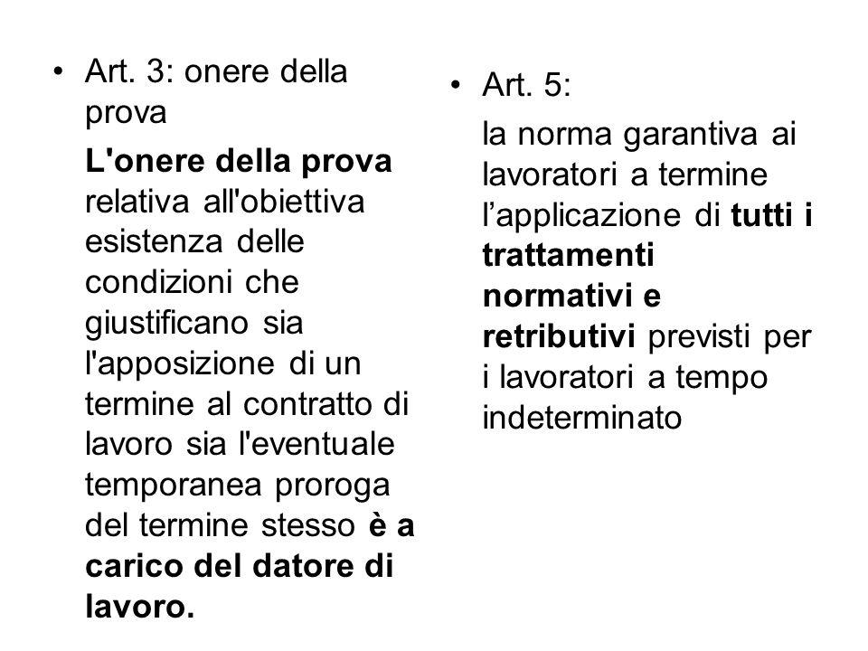 Art. 3: onere della prova L'onere della prova relativa all'obiettiva esistenza delle condizioni che giustificano sia l'apposizione di un termine al co