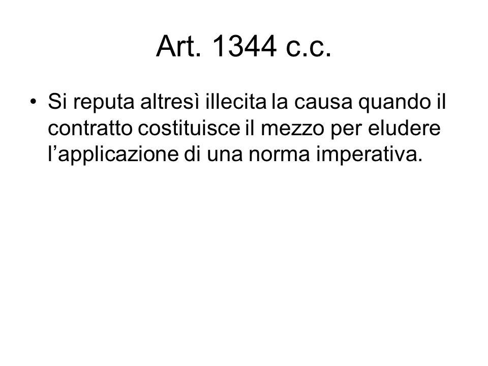 Art. 1344 c.c. Si reputa altresì illecita la causa quando il contratto costituisce il mezzo per eludere lapplicazione di una norma imperativa.