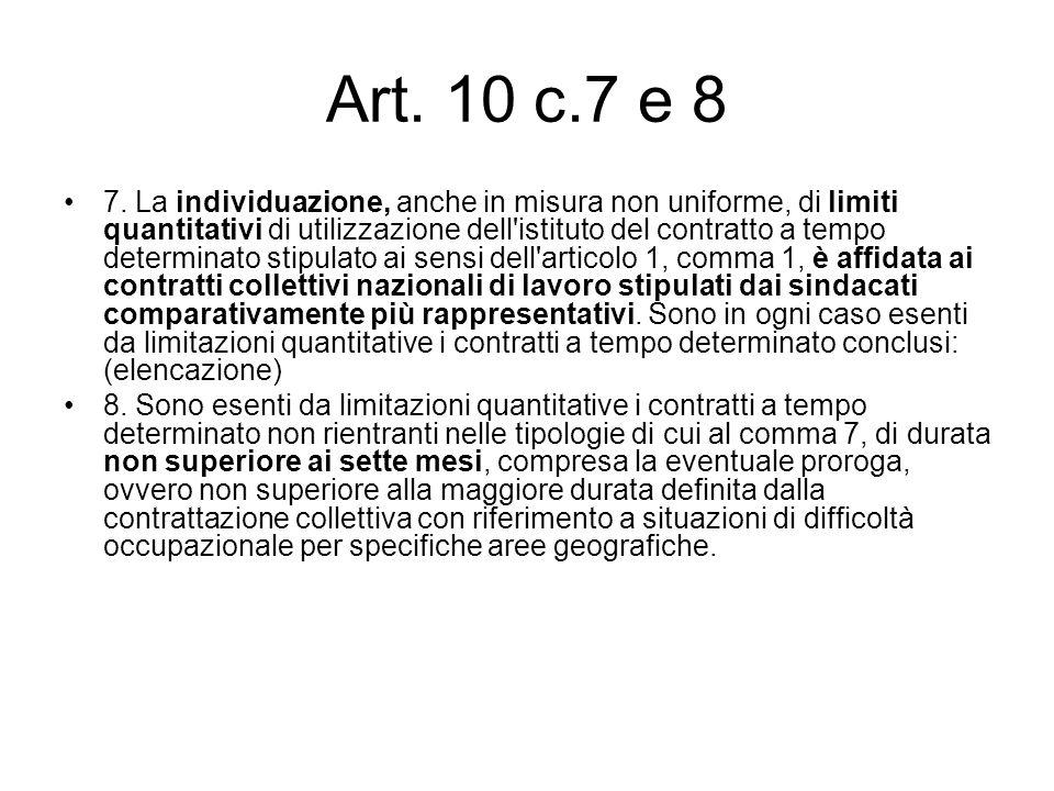 Art. 10 c.7 e 8 7. La individuazione, anche in misura non uniforme, di limiti quantitativi di utilizzazione dell'istituto del contratto a tempo determ
