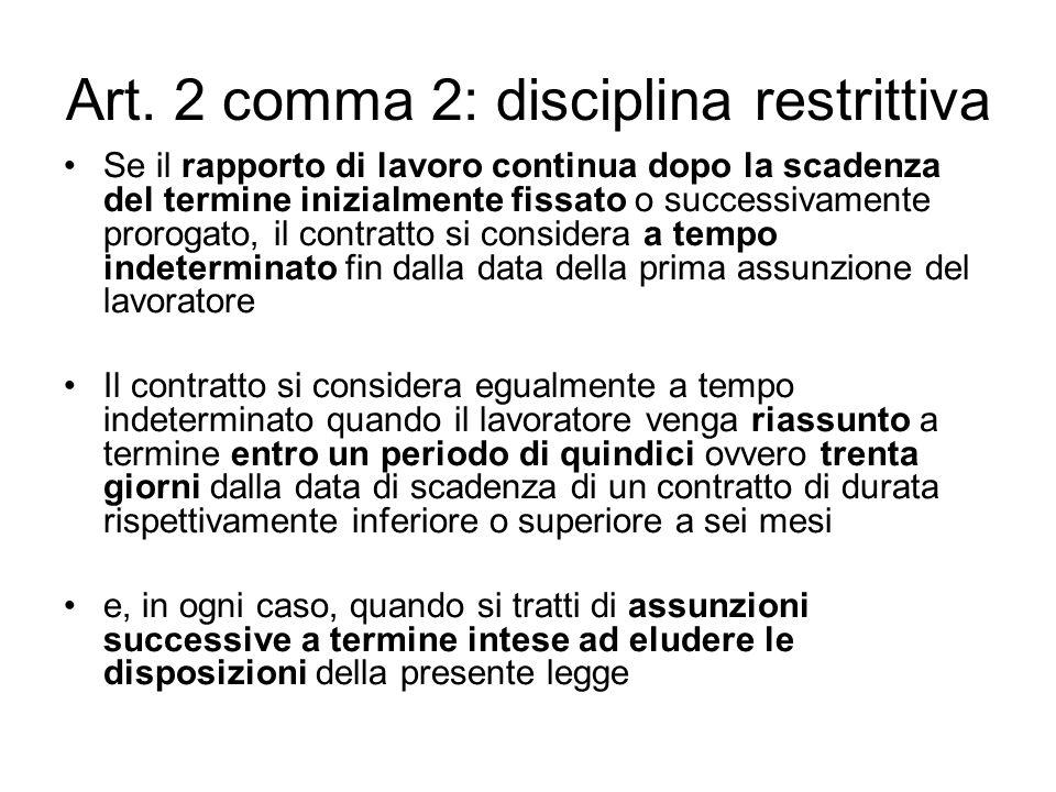 Art. 2 comma 2: disciplina restrittiva Se il rapporto di lavoro continua dopo la scadenza del termine inizialmente fissato o successivamente prorogato