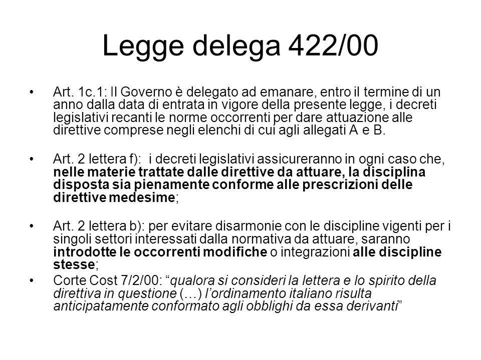 Legge delega 422/00 Art. 1c.1: Il Governo è delegato ad emanare, entro il termine di un anno dalla data di entrata in vigore della presente legge, i d