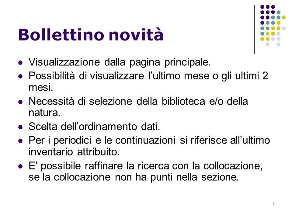 4 Bollettino novità Visualizzazione dalla pagina principale.