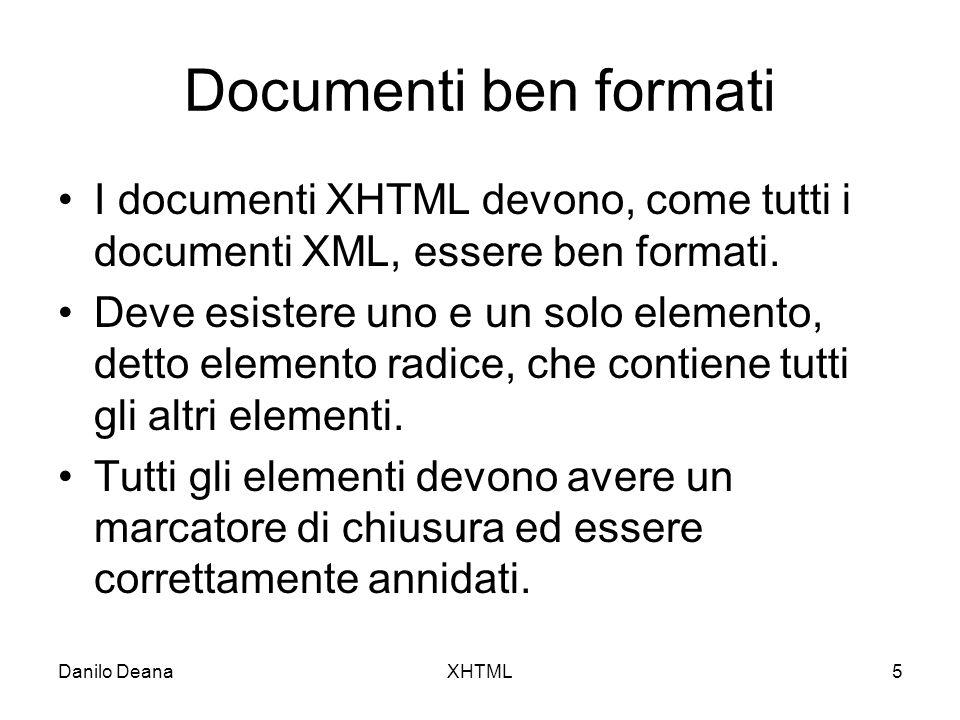 Danilo DeanaXHTML6 Elementi vuoti Anche gli elementi vuoti devono avere un marcatore di chiusura o essere scritti utilizzando un particolare formato.