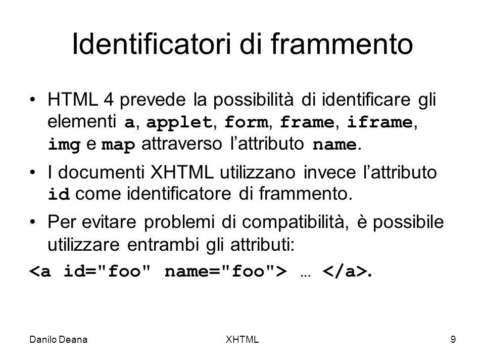 Danilo DeanaXHTML9 Identificatori di frammento HTML 4 prevede la possibilità di identificare gli elementi a, applet, form, frame, iframe, img e map attraverso lattributo name.