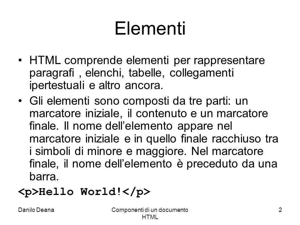 Componenti di un documento HTML 2 Elementi HTML comprende elementi per rappresentare paragrafi, elenchi, tabelle, collegamenti ipertestuali e altro ancora.