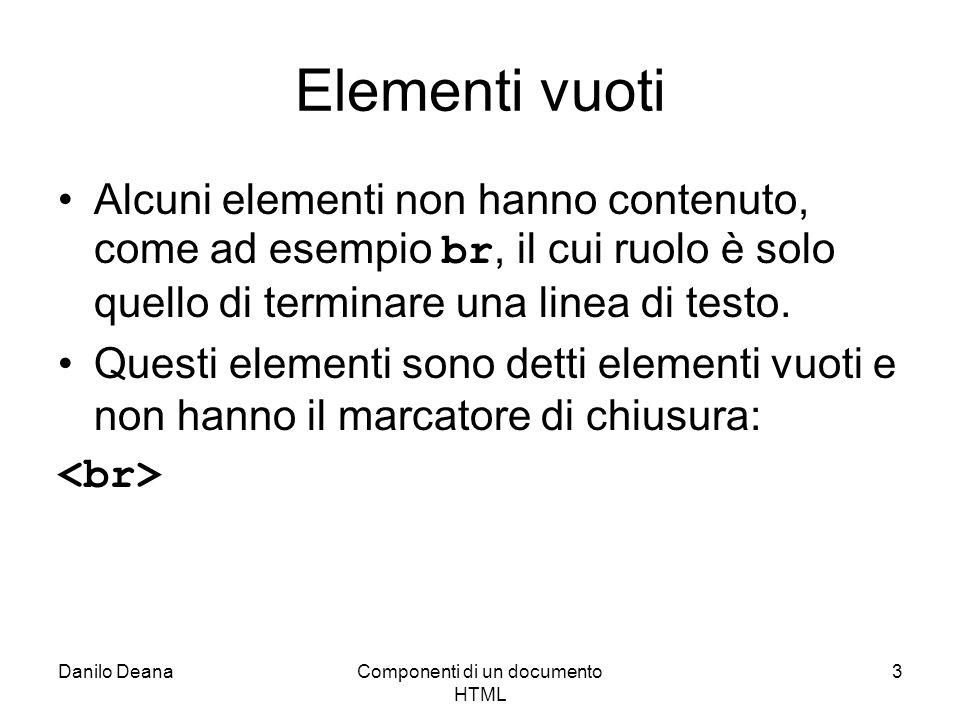 Danilo DeanaComponenti di un documento HTML 3 Elementi vuoti Alcuni elementi non hanno contenuto, come ad esempio br, il cui ruolo è solo quello di te