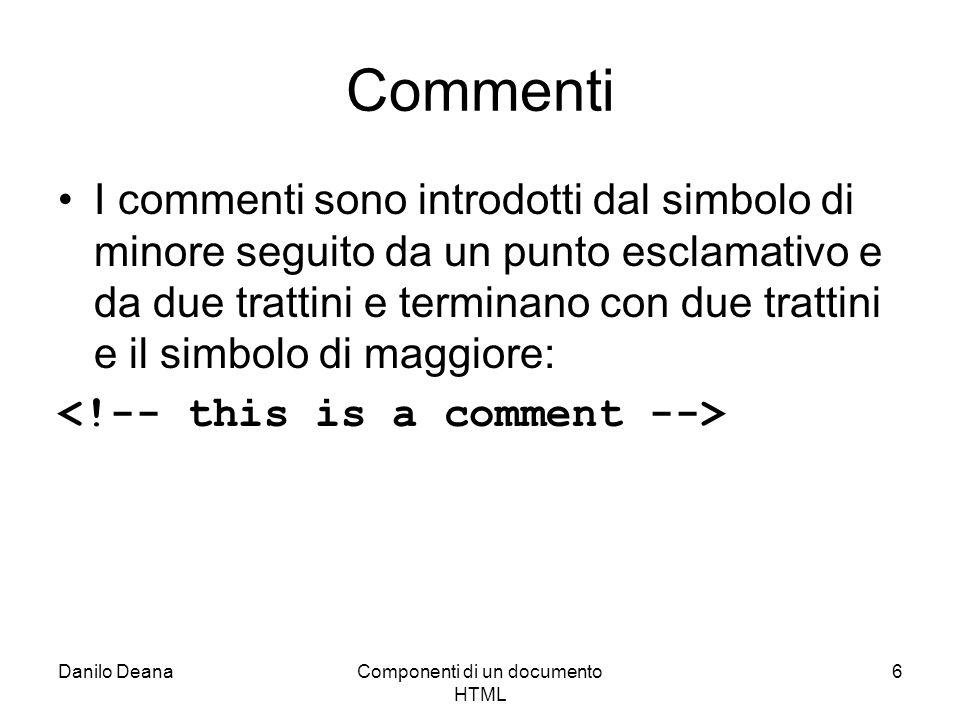 Danilo DeanaComponenti di un documento HTML 6 Commenti I commenti sono introdotti dal simbolo di minore seguito da un punto esclamativo e da due trattini e terminano con due trattini e il simbolo di maggiore: