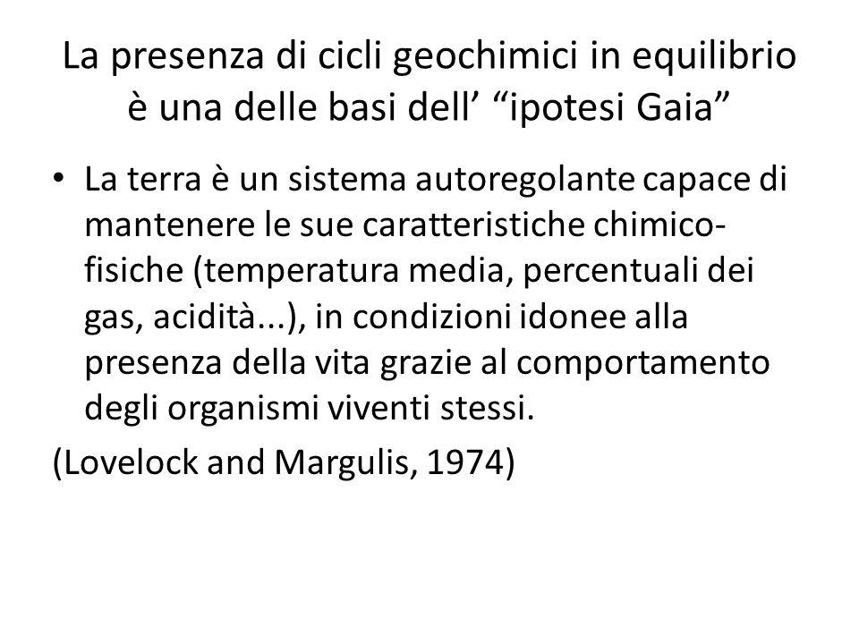 La presenza di cicli geochimici in equilibrio è una delle basi dell ipotesi Gaia La terra è un sistema autoregolante capace di mantenere le sue caratt
